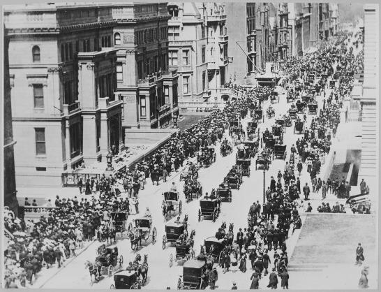 Straßenszene in New York im Jahr 1900