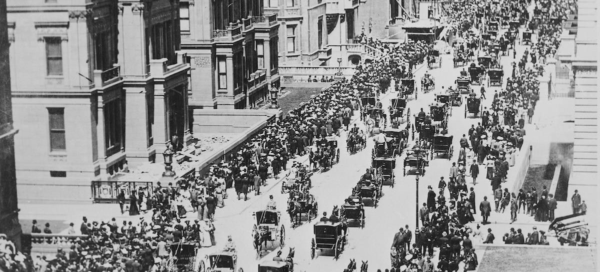 Straßenszene aus New York im Jahr 1900